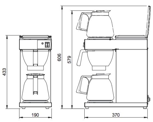 Kích thước máy pha cà phê Animo Excelso